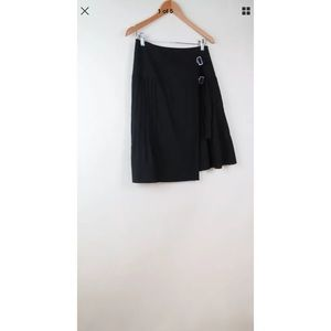 Nina Ricci black pleated wool buckle skirt 36